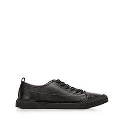 Męskie sneakersy skórzane o kroju trampek, czarny, 92-M-911-1-40, Zdjęcie 1