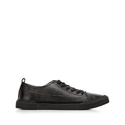 Męskie sneakersy skórzane o kroju trampek, czarny, 92-M-911-1-45, Zdjęcie 1