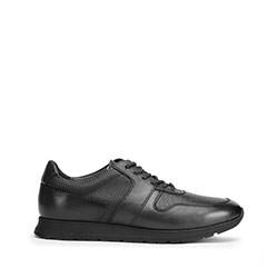 Męskie sneakersy skórzane perforowane, czarny, 93-M-509-1-39, Zdjęcie 1