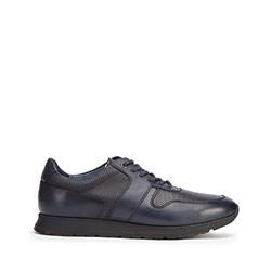 Męskie sneakersy skórzane perforowane, granatowy, 93-M-509-N-41, Zdjęcie 1