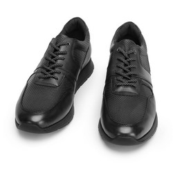Męskie sneakersy skórzane perforowane, czarny, 93-M-509-1-42, Zdjęcie 1