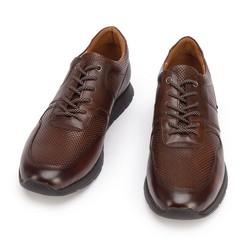 Męskie sneakersy skórzane perforowane, brązowy, 93-M-509-4-39, Zdjęcie 1