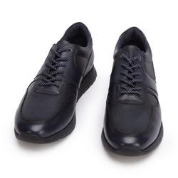 Męskie sneakersy skórzane perforowane, granatowy, 93-M-509-N-45, Zdjęcie 1