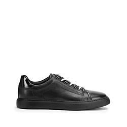 Męskie sneakersy skórzane w stylu trampek, czarny, 93-M-500-1-45, Zdjęcie 1