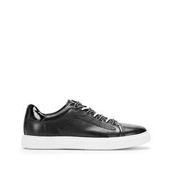 Męskie sneakersy skórzane w stylu trampek, czarno - biały, 93-M-500-1W-44, Zdjęcie 1