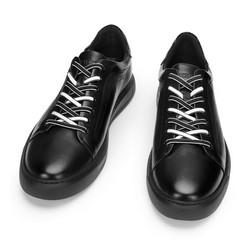 Męskie sneakersy skórzane w stylu trampek, czarny, 93-M-500-1-40, Zdjęcie 1