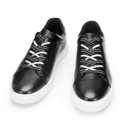 Męskie sneakersy skórzane w stylu trampek, czarno - biały, 93-M-500-1W-43, Zdjęcie 1