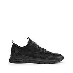 Męskie sneakersy skórzane z giętką podeszwą, czarny, 93-M-901-1-41, Zdjęcie 1
