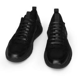 Męskie sneakersy skórzane z giętką podeszwą, czarny, 93-M-901-1-40, Zdjęcie 1