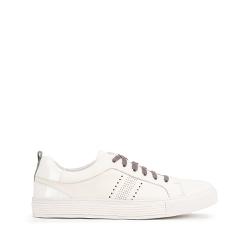 Męskie sneakersy skórzane z lakierowaną wstawką, biały, 93-M-502-0-44, Zdjęcie 1