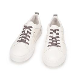 Męskie sneakersy skórzane z lakierowaną wstawką, biały, 93-M-502-0-45, Zdjęcie 1