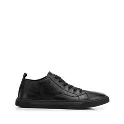 Leather trainers with stitch detail, black, 92-M-912-1-39, Photo 1