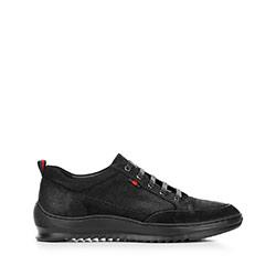 Męskie sneakersy z nubuku na grubej podeszwie, czarny, 92-M-913-1-42, Zdjęcie 1