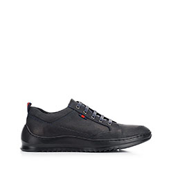 Men's nubuck trainers with a thick sole, black-navy blue, 92-M-913-7-43, Photo 1