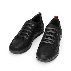 Men's nubuck trainers with a thick sole, black, 92-M-913-1-41, Photo 1