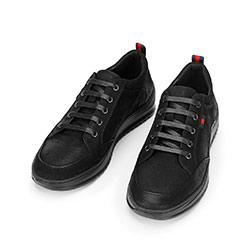 Męskie sneakersy z nubuku na grubej podeszwie, czarny, 92-M-913-1-44, Zdjęcie 1
