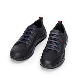 Męskie sneakersy z nubuku na grubej podeszwie, czarno - granatowy, 92-M-913-7-43, Zdjęcie 1
