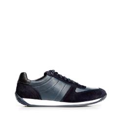 Męskie sneakersy z różnych skór, niebieski, 92-M-350-7-45, Zdjęcie 1