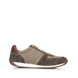 Męskie sneakersy z różnych skór, beżowo - srebrny, 92-M-350-Z-42, Zdjęcie 1