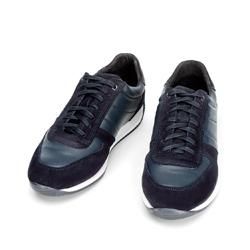 Męskie sneakersy z różnych skór, niebieski, 92-M-350-7-42, Zdjęcie 1