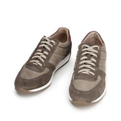 Męskie sneakersy z różnych skór, beżowy, 92-M-350-Z-45, Zdjęcie 1