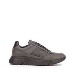 Męskie sneakersy z wegańskiej skóry ze wstawką lizard, czarny, 93-M-301-1-40, Zdjęcie 1