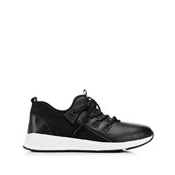 Męskie sneakersy ze skóry i tkaniny, czarny, 92-M-914-1-45, Zdjęcie 1