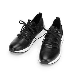 Męskie sneakersy ze skóry i tkaniny, czarny, 92-M-914-1-39, Zdjęcie 1