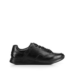 Męskie sneakersy ze skóry licowej, czarny, 92-M-301-1-41, Zdjęcie 1