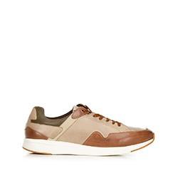 Męskie sneakersy ze skóry licowej, beżowo - brązowy, 92-M-301-8-40, Zdjęcie 1