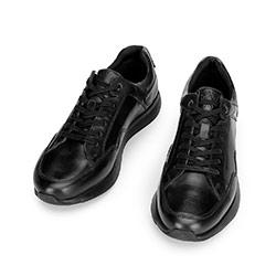 Męskie sneakersy ze skóry licowej, czarny, 92-M-301-1-42, Zdjęcie 1