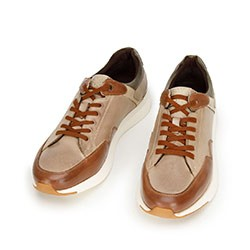 Męskie sneakersy ze skóry licowej, beżowo - brązowy, 92-M-301-8-44, Zdjęcie 1
