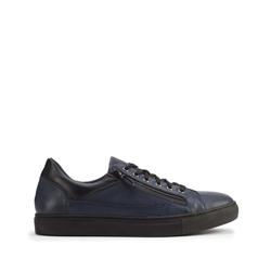 Męskie sneakersy ze skóry o kroju trampek, granatowy, 93-M-501-N-40, Zdjęcie 1