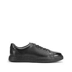 Męskie sneakersy ze skóry w stylu trampek, czarny, 93-M-504-1-44, Zdjęcie 1