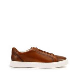 Męskie sneakersy ze skóry w stylu trampek, brązowy, 93-M-504-5-39, Zdjęcie 1