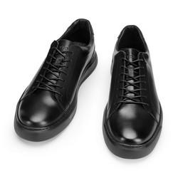 Męskie sneakersy ze skóry w stylu trampek, czarny, 93-M-504-1-43, Zdjęcie 1