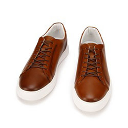 Męskie sneakersy ze skóry w stylu trampek, brązowy, 93-M-504-5-43, Zdjęcie 1