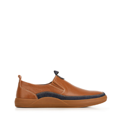 Men's leather slip-on trainers, brown-navy blue, 92-M-902-5-43, Photo 1