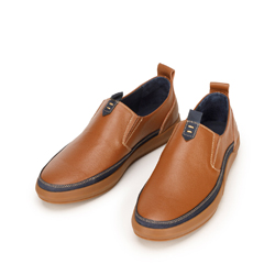 Męskie sneakersy ze skóry wsuwane, brązowo - granatowy, 92-M-902-5-40, Zdjęcie 1