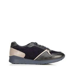 Męskie sneakersy ze skóry zamszowej i licowej, granatowy, 92-M-300-7-44, Zdjęcie 1