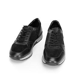 Męskie sneakersy ze skóry zamszowej i licowej, czarny, 92-M-300-1-42, Zdjęcie 1
