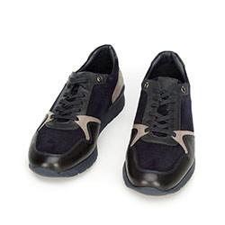 Męskie sneakersy ze skóry zamszowej i licowej, granatowy, 92-M-300-7-42, Zdjęcie 1