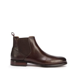 Men's leather Chelsea boots with textured  heelcap, dark brown, 93-M-520-4-39, Photo 1