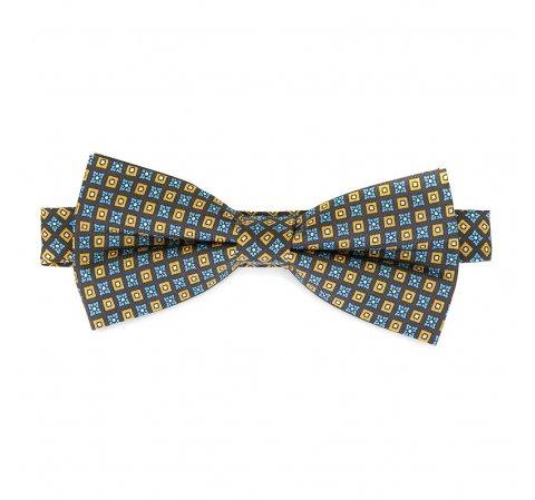 Mucha z jedwabiu wzorzysta, niebiesko - żółty, 92-7I-001-X1, Zdjęcie 1