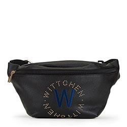 Damska torebka nerka z wyszywanym logo, czarny, 90-4Y-556-1, Zdjęcie 1