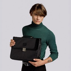 Męska torba na laptopa ze wstawkami z ekoskóry, czarny, 29-3-633-1, Zdjęcie 1