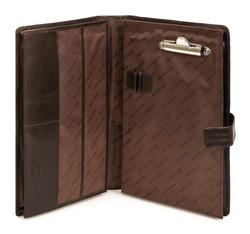 Organizer na dokumenty skórzany z klipsem, brązowy, 10-2-005-4, Zdjęcie 1