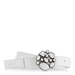 Pasek damski, biały, 86-8D-301-0-XL, Zdjęcie 1