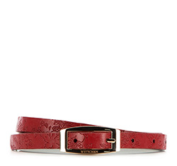 Pasek damski, czerwony, 86-8D-302-3-L, Zdjęcie 1