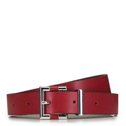 Damski pasek skórzany z nowoczesną klamerką, czerwony, 91-8D-303-3-2X, Zdjęcie 1